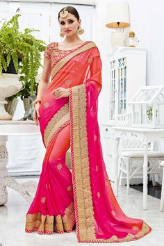 Pink Peach Designer Wedding Wear Saree With Heavy Lace Border Patang Catalog 3911