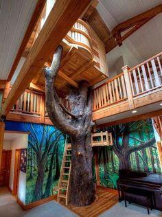 Bedroom, Kids Bedroom Indoor Tree House Design: Cool Interior Kids Bedroom with . - Jocelyn W - - Bedroom, Kids Bedroom Indoor Tree House Design: Cool Interior Kids Bedroom with .