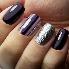 30 Eye Catching Square Geometric Winter Nail Art Design Ideas Page 14 Chic Cutie… - Bbq İdeas Dark Color Nails, Dark Nails, Nail Colors, Dark Purple Nails, Winter Nail Art, Winter Nails, How To Do Nails, Fun Nails, Crome Nails