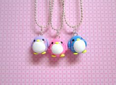 Penguin Friendship Kawaii Cute Polymer Clay Charms BFF Necklace 3 Piece Set via Etsy