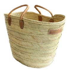 """Style 12 - Large """"Tunisian"""" style market basket with deluxe natural leather short handles (11 rounds)"""