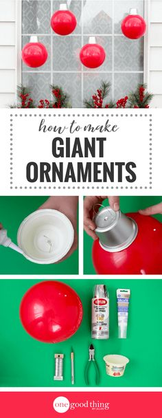 How To Make Cheap and Easy Giant Christmas Ornaments Learn how easy it is to make adorable oversized ornaments to add to your Christmas decor. Minimal effort for maximum visual impact! Grinch Christmas, Christmas Porch, Diy Christmas Ornaments, Christmas Projects, Simple Christmas, Christmas Holidays, Christmas Ideas, Diy Christmas Home Decor, Primitive Christmas