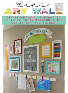"""Kids Art on Right Side of the Hall = Plastic Colored Clothespins on a Wooden Beam in the """"Hallway of Fame"""" !"""
