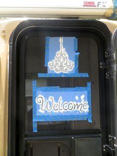 Screen door with Stencil