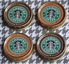 DIY Crafts | Do you have a Starbucks lover in your life? Repurpose the bottle tops into magnets for your fridge!