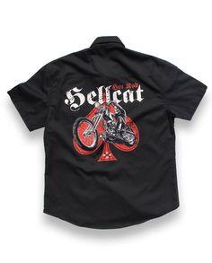 Hotrod Hellcat Herren SKULL BIKER Hemd.Oldschool,Tattoo,Biker,Custom Style