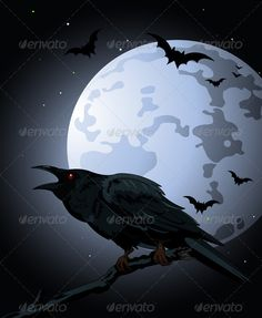 Crow  against a full moon  #GraphicRiver         Halloween Crow sitting and croaks against a full moon     Created: 5October11 GraphicsFilesIncluded: VectorEPS #VectorEPS Layered: No MinimumAdobeCSVersion: CS Tags: background #banner #bird #black #cartoon #clipart #clip-art #crow #drawing #full #goth #gothic #halloween #hanged #holiday #illustration #invitation #moon #night #placecard #raven #scary #silhouette #sky #space #spooky #style #sunset #vector