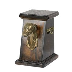 Wooden urn, made of birch with cold cast bronze statue ♥ Cremation Boxes, Dog Cremation, American Cocker Spaniel, Dog Memorial, Brass Handles, Whippet, Dachshund, Pet Supplies, Your Pet