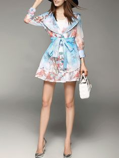 Printed Organza Long Coat