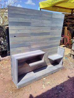 Find more information on Wooden Pallet Projects Diy Furniture Chair, Pallet Furniture, Furniture Projects, Wooden Tv Stands, Pallet Tv Stands, Wood Plank Shelves, Wood Planks, Pallet Walls, Pallet House