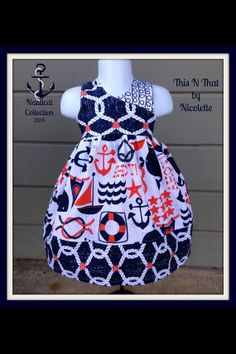 Nautical Dress sizes 3 months to 12 years by ThisNThatByNicolette, $35.00