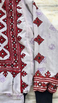Excited to share the latest addition to my shop: Embellished bomber jacket / geometric motif jacket / boho jacket / spring jacket Hand Embroidery Dress, Embroidery Stitches, Patterned Bomber Jacket, Balochi Dress, Afghan Clothes, Kurti Designs Party Wear, Crochet Jacket, Vintage Coat, Vintage Fabrics