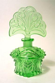 Art Deco Czech Signed Green Crystal Cut Glass Intaglio Flowers Perfume Bottle | eBay