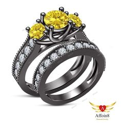2CT Round Sapphire & Diamond 14K Gold Plated Three Stone Wedding Bridal Ring Set #Affoin8