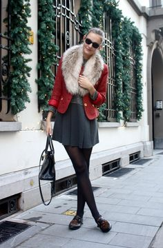 Love the red jacket with the fur collar