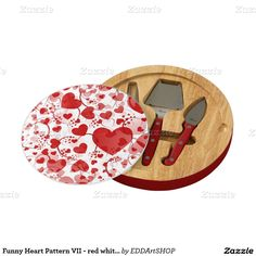 Funny Heart Pattern VII - red white + your idea Cheese Board