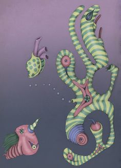 """©Carolyn Watson Dubisch  """"Crazy Creatures""""  pencil with digital colors"""
