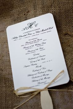 Simple wedding program I created. This wedding had othe great personal touches!