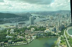 A view of Macau, China from the highest bungee jumping location in the world.