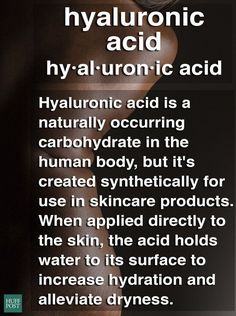 What Hyaluronic Acid Is, And Why It May Be Your Dry Skin Savior. Skin care. It turns out the solution to your dry skin woes has been here all along. Skin Care products - http://amzn.to/2iSUZHs