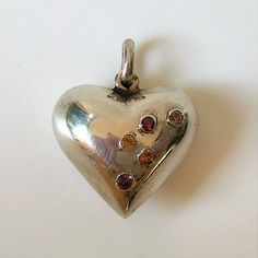 Silver & Cubic Heart-Shaped Harmony Pendant Vintage Jewellery, Sterling Silver Pendants, Heart Shapes, Belly Button Rings, Christmas Ornaments, Antiques, Color, Jewelry, Antiquities