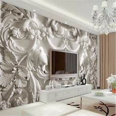 Quality beibehang Custom photo wallpaper large mural wall stickers classic white European relief TV wall murals papel de parede with free worldwide shipping on AliExpress Mobile Ceiling Design, Wall Design, Living Room Bedroom, Living Room Decor, Living Room Background, Wall Wallpaper, Leaves Wallpaper, Photo Wallpaper, Custom Wallpaper