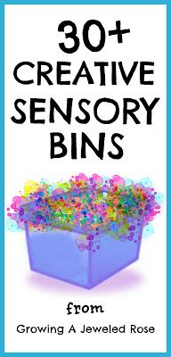 Fun Sensory Bin Ideas... I can't wait to try and make my own sensory table so I can utilize these fun things as kiddo gets older