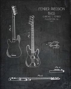 Or this one for Jerris......Fender Precision Bass Guitar blueprint style art print