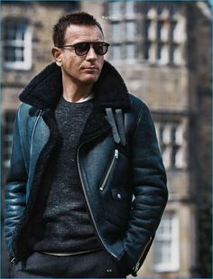 Ewan McGregor wears a Coach leather and shearling jacket with a Vince sweater…