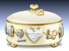 Gift Music Boxes for Granddaughters - Granddaughter, I Wish You Heirloom Porcelain Personalized Music Box