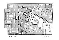 Ricardo Bofill, Edifici entre mitgeres, Barcelona 1963 Ricardo Bofill, Modern Floor Plans, Architect Drawing, Classical Elements, Barcelona Hotels, Architecture Plan, Hotels And Resorts, Planer, Layout