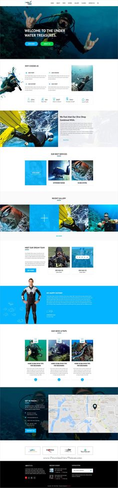 Under Water One Page PSD Template is an incredible one page website template. This PSD Template will suit who want attractive and creative design for website. Layout Site, Website Layout, Web Layout, Layout Design, Design Ideas, Website Themes, Simple Web Design, Creative Design, Modern Design