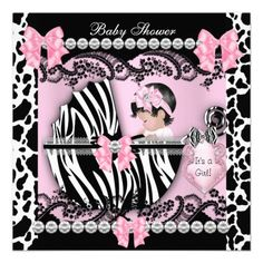 Baby Shower Cute Baby Girl Pink Zebra Cow Lace Announcement