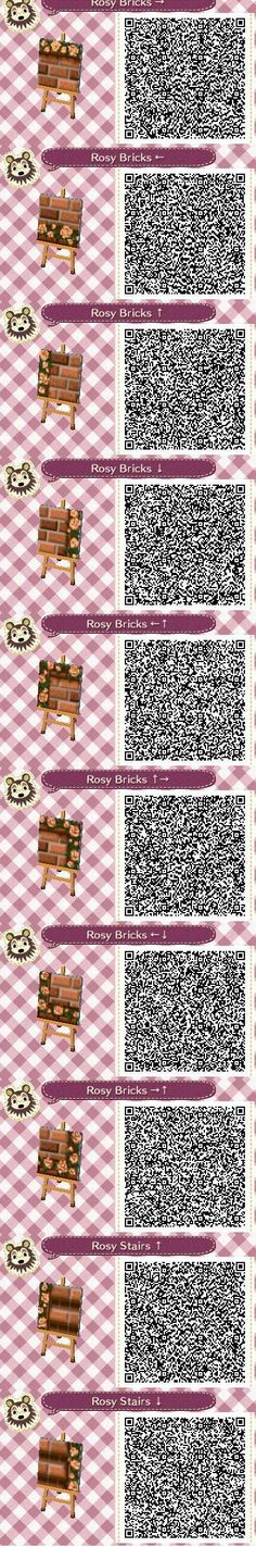 Rosy Bricks Part 1 QR codes -by Pixel Rose Design. - - things to do in - Welcome Haar Design Animal Crossing 3ds, Animal Crossing Qr Codes Clothes, Animal Games, My Animal, Pokemon, Pikachu, Tumblr Roses, Acnl Pfade, Acnl Paths