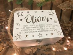 Luxury white star time capsule, keepsake box, memory box. A beautiful gift for a girl or boys on their first 1st birthday. A very special 1st birthday gift  Laser engraved