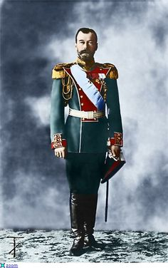 Tsar Nicholas attired in his military, Identification order uniform.