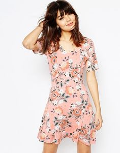 ASOS+Skater+Dress+with+Ruffle+Detail+in+Pretty+Floral+Print