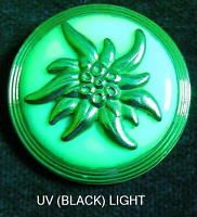 Unique Czech Vaseline/Uranium Glass/Brass Button (1pc)#D937 - EDELWEISS!! RARE!!