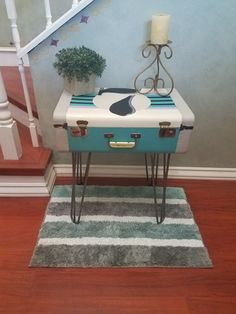 I'm all finished with the vintage suitcase table. It's perfect for storing your travel itinerary, souvenirs and even your dream journal right by your bedside. It can also be used as stylish, vintage storage anywhere in your home. Available at projectvintageus.com/products/vintage-suitcase-accent-table-nightstand