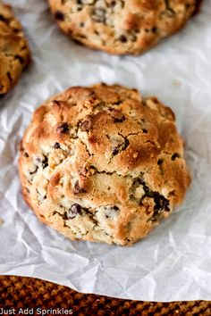 Colossal sized Chocolate Chip Walnut Cookies with a firm outside and a super gooey, cookie-dough like center. #justaddsprinkles #cookies #chocolatechip #cookierecipe #baking #chocolatechipwalnutcookies #bakerystylecookies #hugecookies #cookiedough