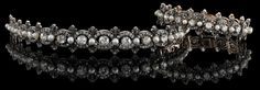 Beautiful set of pearl and diamond bracelet and diadem. Circa 1890s.