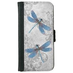 Vintage Grunge Damask Dragonflies Wallet Phone Case For iPhone 6/6s in shades of blue and gray from Encore_Arts on Zazzle.