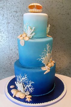 Tiered wedding cake with an ombre water design and white chocolate sea shells & coral. Ocean Cakes, Beach Cakes, Seashell Cake, 15th Birthday Cakes, Nautical Cake, Ombre Cake, Best Cake Recipes, Buttercream Cake, Pretty Cakes