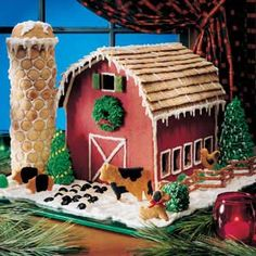 "We came up with the ""plans"" for this Christmas gingerbread barn…then ""stocked"" it with farmyard frie. - Provided by Taste of Home Christmas Goodies, Christmas Baking, Christmas Treats, Christmas Holidays, Christmas Decorations, Xmas, Italian Christmas, Holiday Decor, Country Christmas"