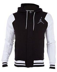 Nike Mens Jordan Varsity Hoodie Black/White/Cool Grey http://www