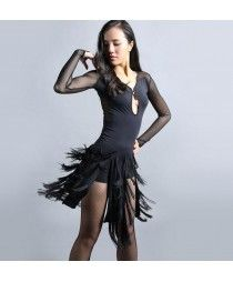 Black fringes round neck long sleeves mesh fabric competition performance latin salsa cha cha dance dresses