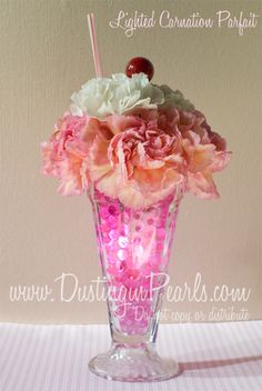 Rosehaven Cottage: Lighted Carnation Parfait Centerpiece