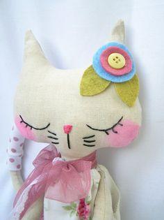 MollyShabby chic linen kitty ON HOLD by nooshka on Etsy