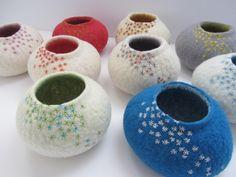 Embroidered felt bowls