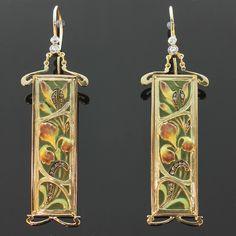 Plique ajour enamel earrings emaille a fenetre Art Nouveau from adin on Ruby Lane